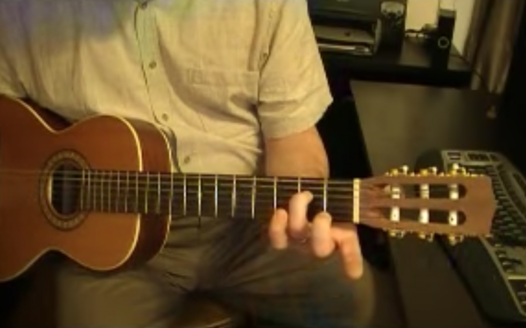 Play an A minor chord on the guitar